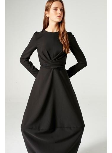 Mizalle Balon Etekli Elbise  Siyah